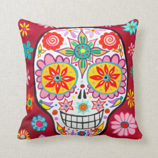 Mexican Sugar Skull Pillow - Day of the Dead