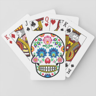 Mexican sugar skull, Polish folk art style Playing Cards