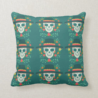 Mexican Sugar Skull Throw Pillow