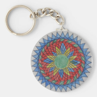 Mexican Sun Spirograph Art Keychains