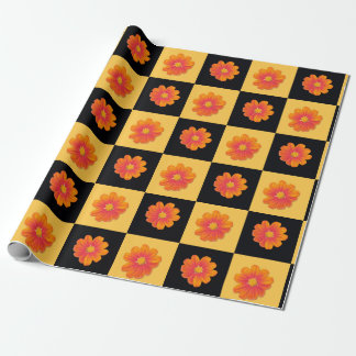 Mexican sunflower black and yellow check gift wrap wrapping paper
