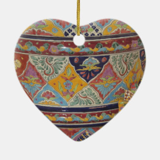 Mexican Talavera style pottery Ceramic Heart Decoration