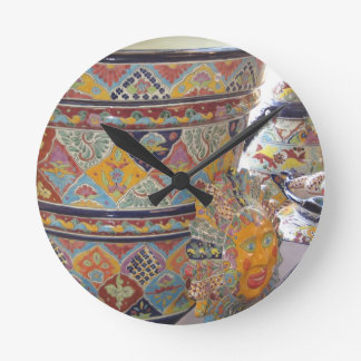 Mexican Talavera style pottery Clocks