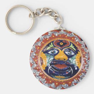 Mexican Talavera style sun Basic Round Button Key Ring
