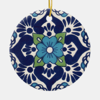 Mexican Talavera Tile Christmas Ornament