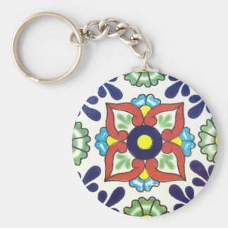 Mexican Talavera tile (red, green, yellow, blue) Basic Round Button Key Ring