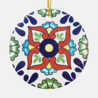 Mexican Talavera tile (red, green, yellow, blue) Christmas Ornament