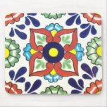 Mexican Talavera tile (red, green, yellow, blue) Mouse Pad