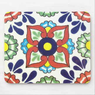 Mexican Talavera tile red green yellow blue Mousepad