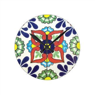Mexican Talavera tile (red, green, yellow, blue) Wall Clocks