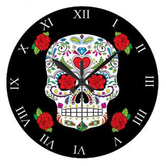 Mexican Tattoo Sugar Skull and Red Roses Wallclocks