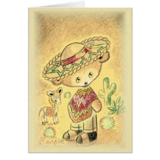 Mexican Teddy Bear In Sombrero Greeting Card