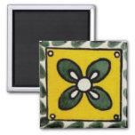 Mexican tile - 4 Leaf Clover Square Magnet