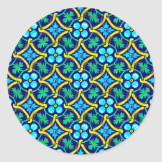 Mexican Tile Design Teal Yellow Floral Print Classic Round Sticker