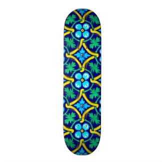 Mexican Tile Design Teal Yellow Floral Print Skateboard Decks