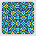 Mexican Tile Design Teal Yellow Floral Print Square Sticker