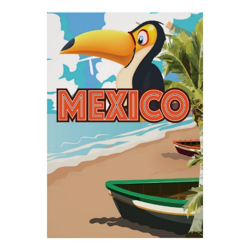 Mexican Toucan Beach Travel Poster. Poster