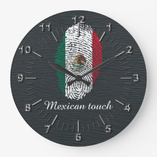 mexican touch fingerprint flag large clock