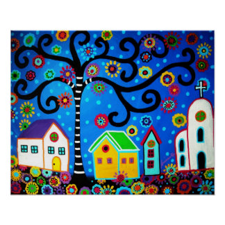 MEXICAN TOWN TREE OF LIFE PAINTING POSTER