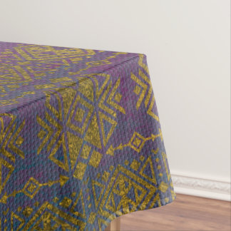 Mexican /Tribal Style pattern - Gold on Vintage pu Tablecloth