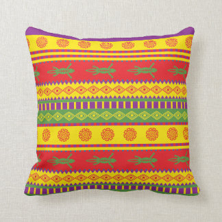 Mexican tribal style pillow with gecko