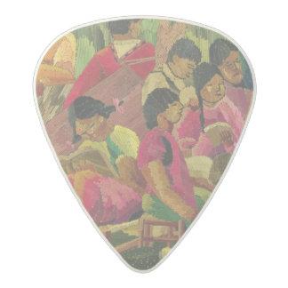 Mexican village scene acetal guitar pick