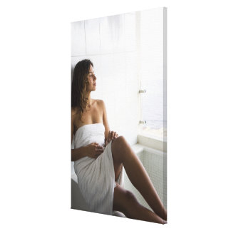 Mexican woman laying in bed canvas print