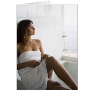 Mexican woman laying in bed greeting card