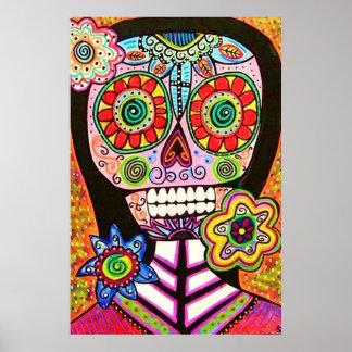 Mexican Woman Pink Sugar Skull Poster Poster