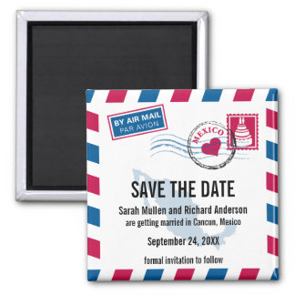 Mexico Air Mail Wedding Save the Date Square Magnet