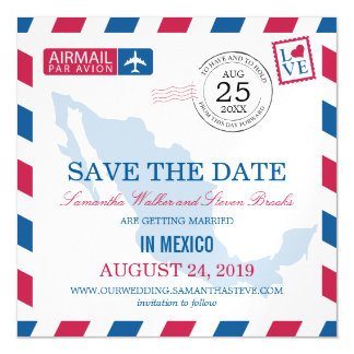 Mexico Airmail Save the Date Magnetic Invitations
