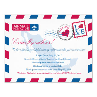 Mexico Airmail Wedding Travel Information Card