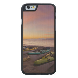 Mexico, Baja, Sea of Cortez. Sea kayaks and Carved Maple iPhone 6 Case