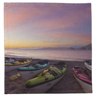 Mexico, Baja, Sea of Cortez. Sea kayaks and Cloth Napkins