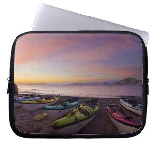 Mexico, Baja, Sea of Cortez. Sea kayaks and Laptop Sleeve