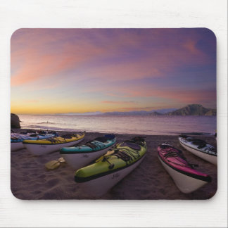 Mexico, Baja, Sea of Cortez. Sea kayaks and Mouse Mat