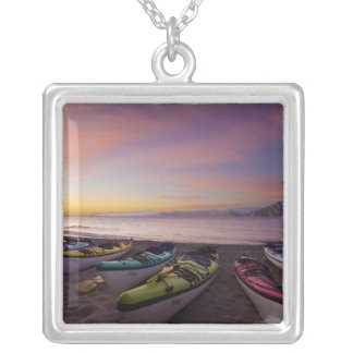 Mexico, Baja, Sea of Cortez. Sea kayaks and Silver Plated Necklace