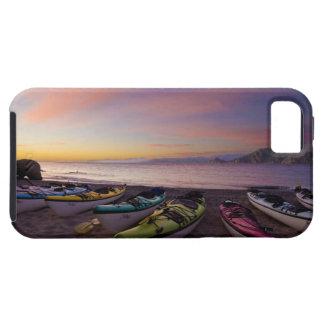 Mexico, Baja, Sea of Cortez. Sea kayaks and Tough iPhone 5 Case