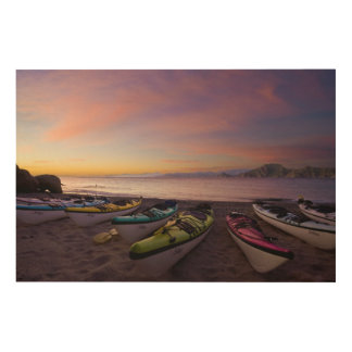Mexico, Baja, Sea of Cortez. Sea kayaks and Wood Wall Decor