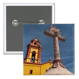 Mexico, Bernal. View of Iglesia de San Sebastian 15 Cm Square Badge