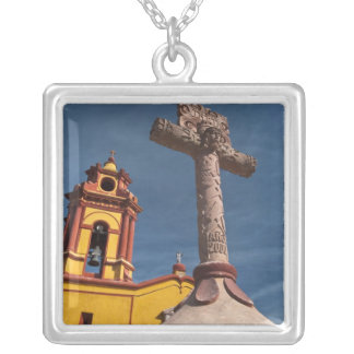 Mexico, Bernal. View of Iglesia de San Sebastian Silver Plated Necklace