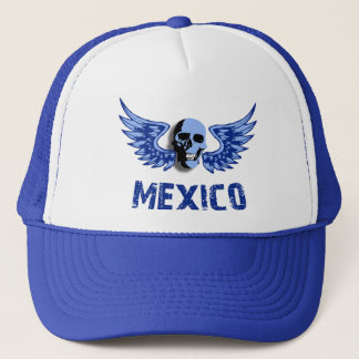 Mexico Blue Winged Skull Trucker Hat