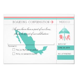 Mexico Boarding Pass Beach Hut RSVP Card