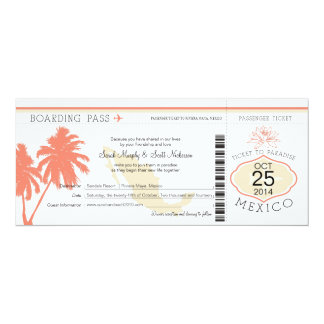 Mexico Boarding Pass Wedding 10 Cm X 24 Cm Invitation Card