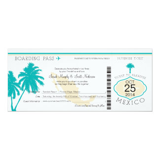 Mexico Boarding Pass Wedding Card