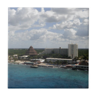 Mexico buildings and ocean small square tile