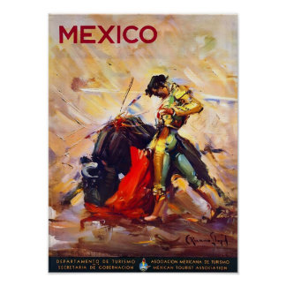 Mexico Bullfighter Vintage Travel Poster