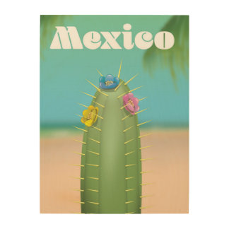 Mexico Cactus travel poster