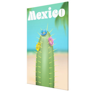 Mexico Cactus travel poster Canvas Print