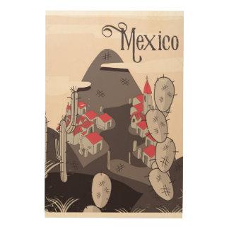 Mexico Cartoon Town Wood Print